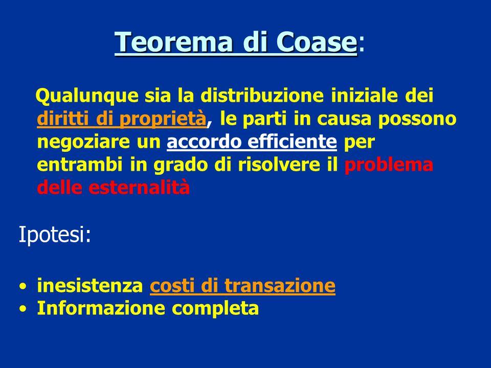 Le esternalità non richiedono necessariamente lintervento dello Stato Non solo lo Stato ma anche il Mercato può correggere le esternalità (R.