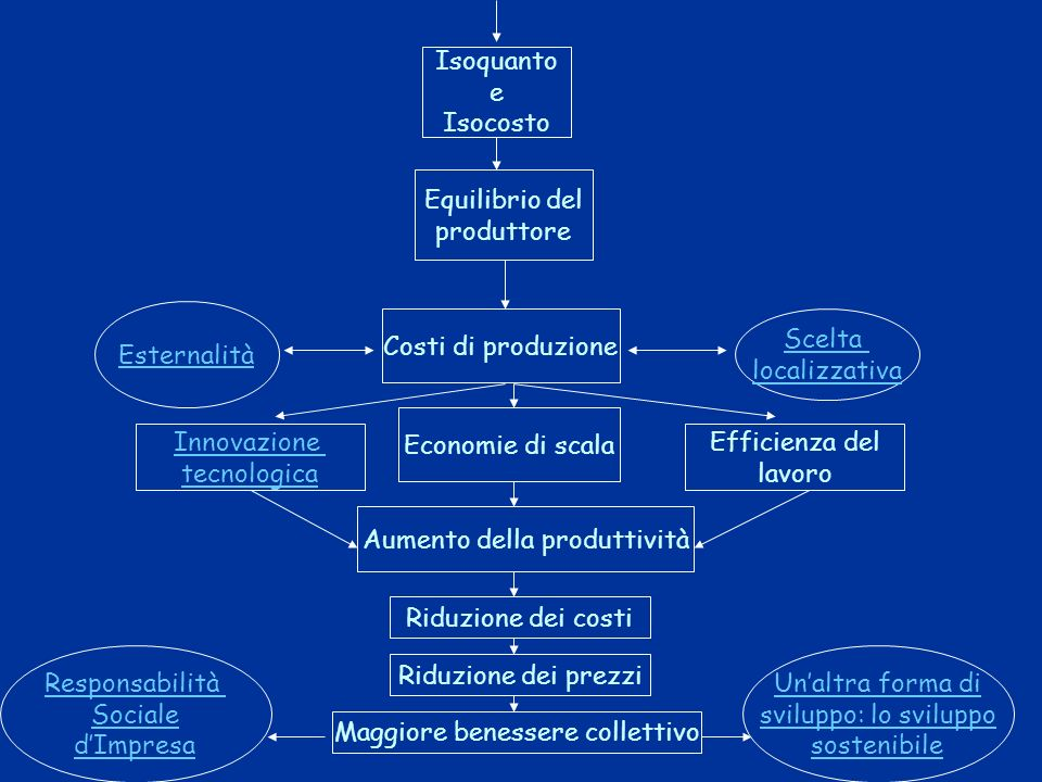 Fattori della produzione Limprenditore nel pensiero economico Funzione della produzione Produttività e Legge dei rendimenti decrescenti La produzione