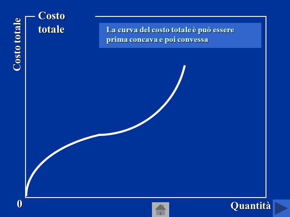 La curva del costo totale, quindi, è la curva che indica per ogni quantità il costo più basso al quale limpresa può produrre ogni quantità.