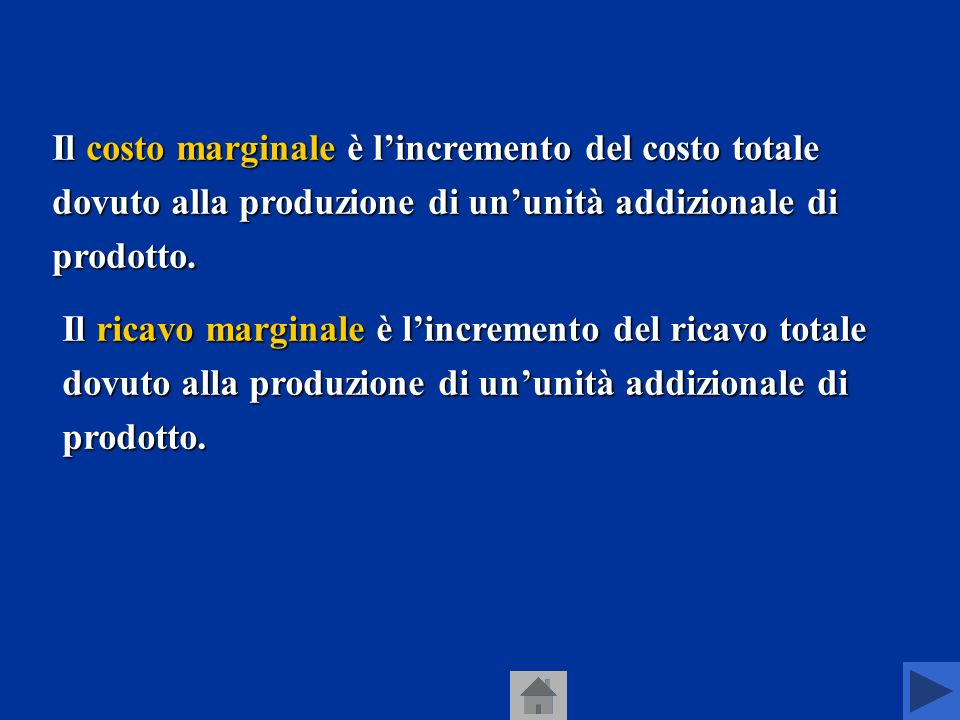 Abbiamo visto che unimpresa, se vuole ottenere il profitto più alto, deve produrre la quantità in corrispondenza della quale il ricavo marginale è uguale al costo marginale.