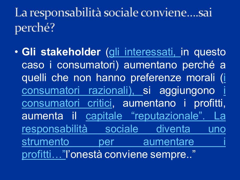 L80% dei consumatori europei e il 72% dei consumatori italiani premierebbero con i loro acquisti imprese che si impegnano nel sociale pagando anche un prezzo superiore.