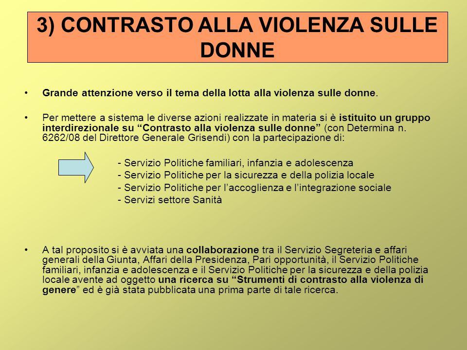 3) CONTRASTO ALLA VIOLENZA SULLE DONNE Grande attenzione verso il tema della lotta alla violenza sulle donne.