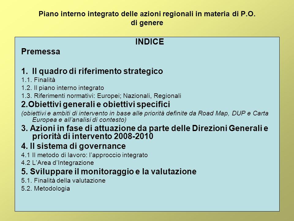 Piano interno integrato delle azioni regionali in materia di P.O.