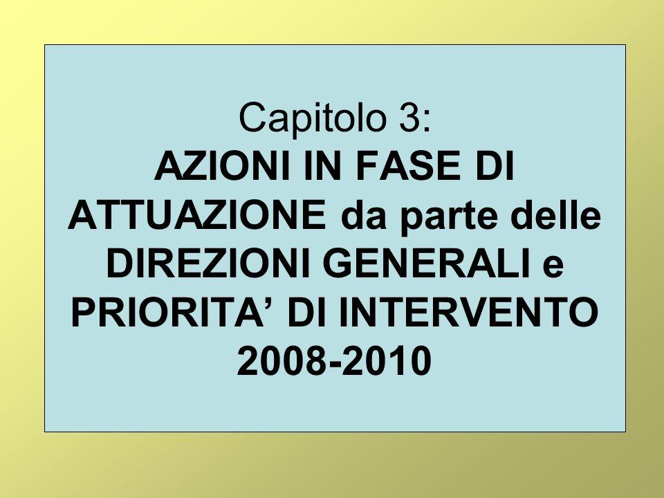 Capitolo 3: AZIONI IN FASE DI ATTUAZIONE da parte delle DIREZIONI GENERALI e PRIORITA DI INTERVENTO 2008-2010