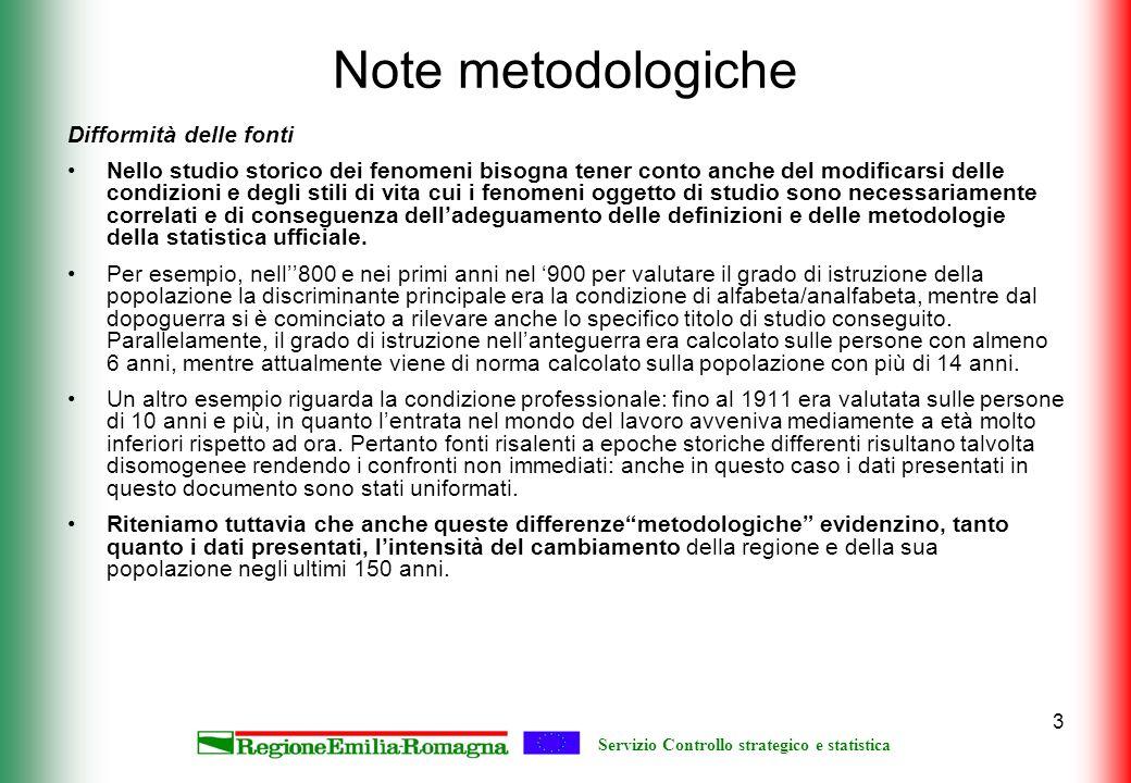 Servizio Controllo strategico e statistica 3 Note metodologiche Difformità delle fonti Nello studio storico dei fenomeni bisogna tener conto anche del