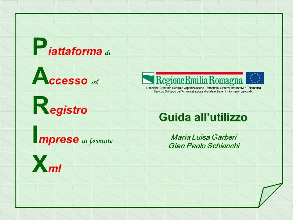 P iattaforma di A ccesso al R egistro I mprese in formato X ml Guida allutilizzo Maria Luisa Garberi Gian Paolo Schianchi
