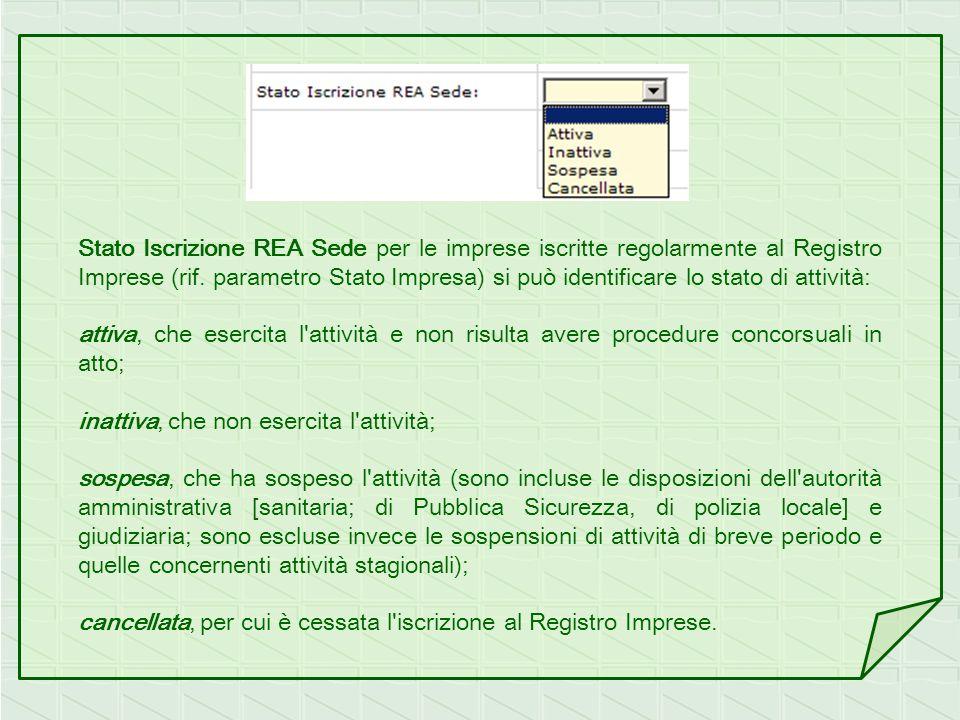 Stato Iscrizione REA Sede per le imprese iscritte regolarmente al Registro Imprese (rif. parametro Stato Impresa) si può identificare lo stato di atti