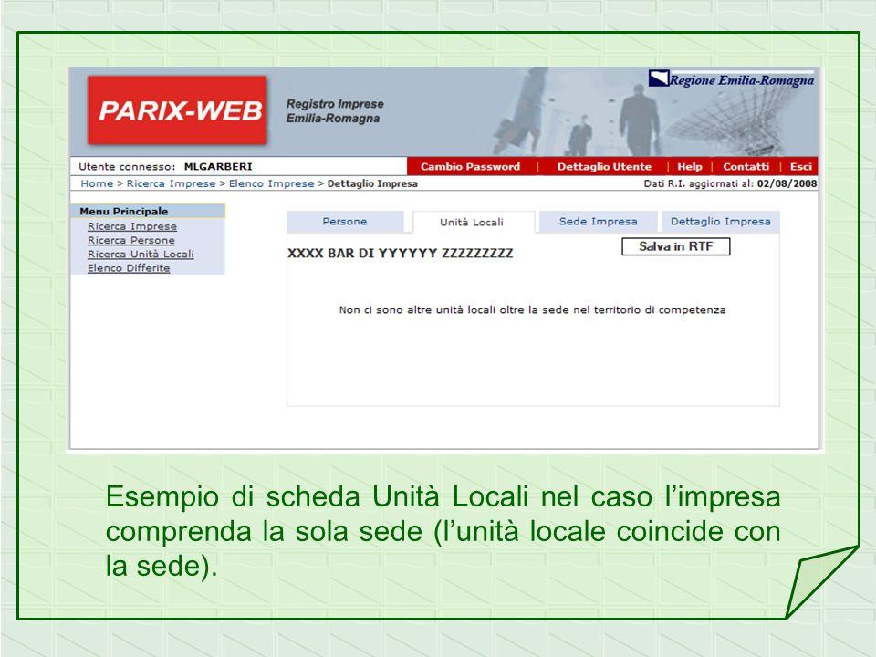 Esempio di scheda Unità Locali nel caso limpresa comprenda la sola sede (lunità locale coincide con la sede).