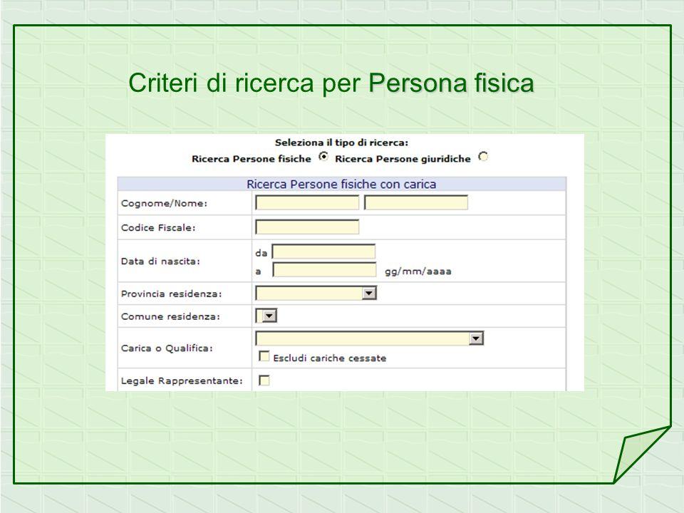 Persona fisica Criteri di ricerca per Persona fisica