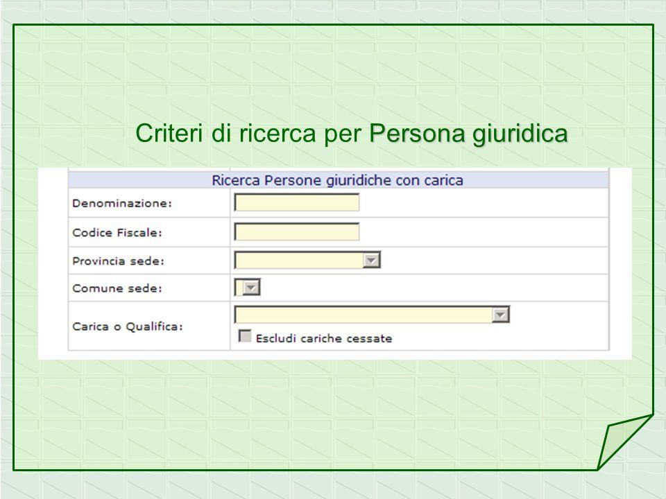 Persona giuridica Criteri di ricerca per Persona giuridica