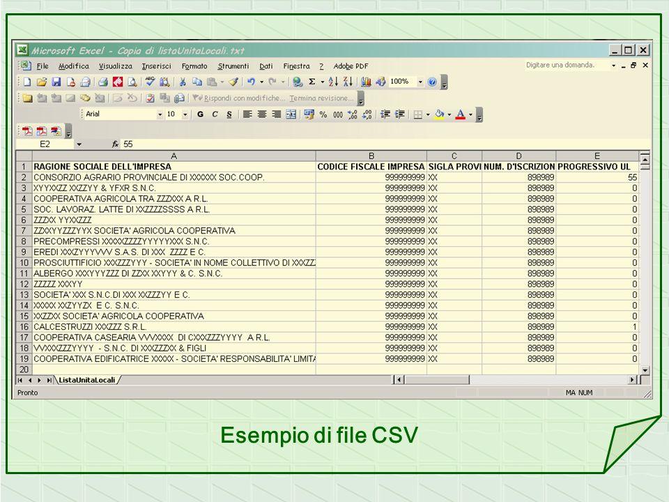 Esempio di file CSV