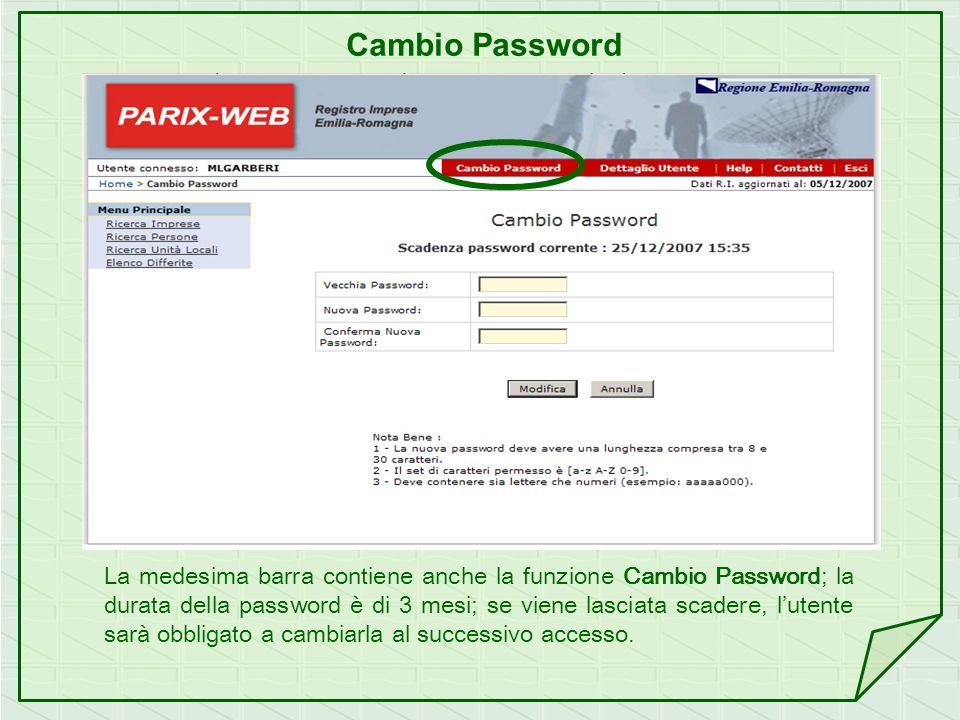 Cambio Password La medesima barra contiene anche la funzione Cambio Password; la durata della password è di 3 mesi; se viene lasciata scadere, lutente