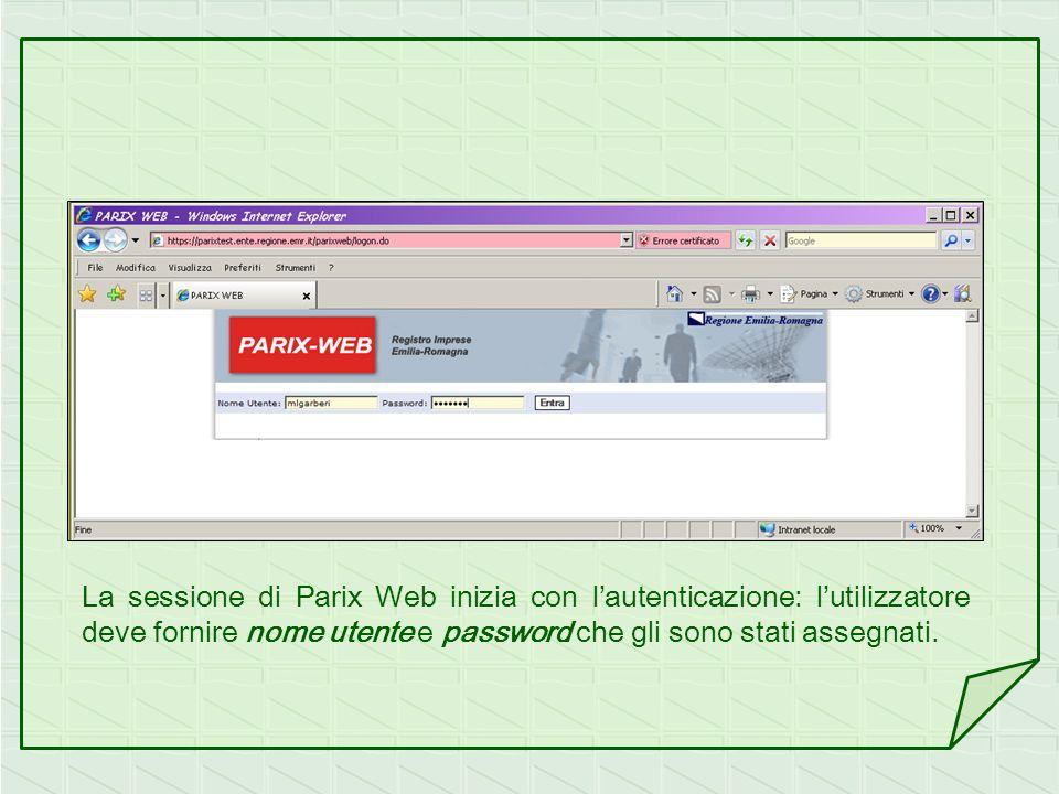 La sessione di Parix Web inizia con lautenticazione: lutilizzatore deve fornire nome utente e password che gli sono stati assegnati.