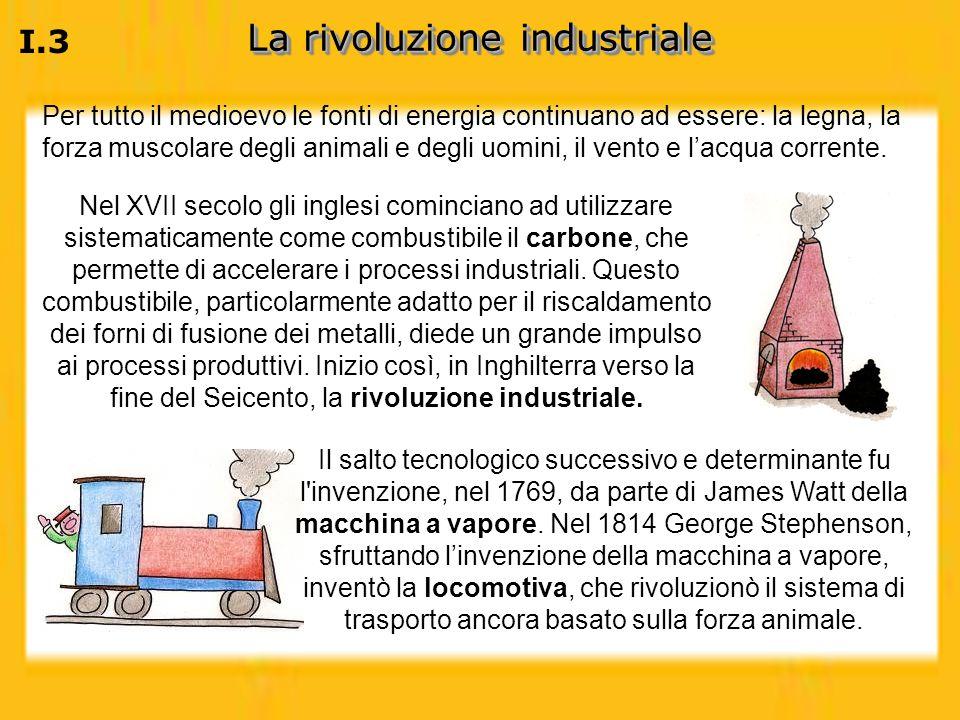 La rivoluzione industriale I.3 Per tutto il medioevo le fonti di energia continuano ad essere: la legna, la forza muscolare degli animali e degli uomi
