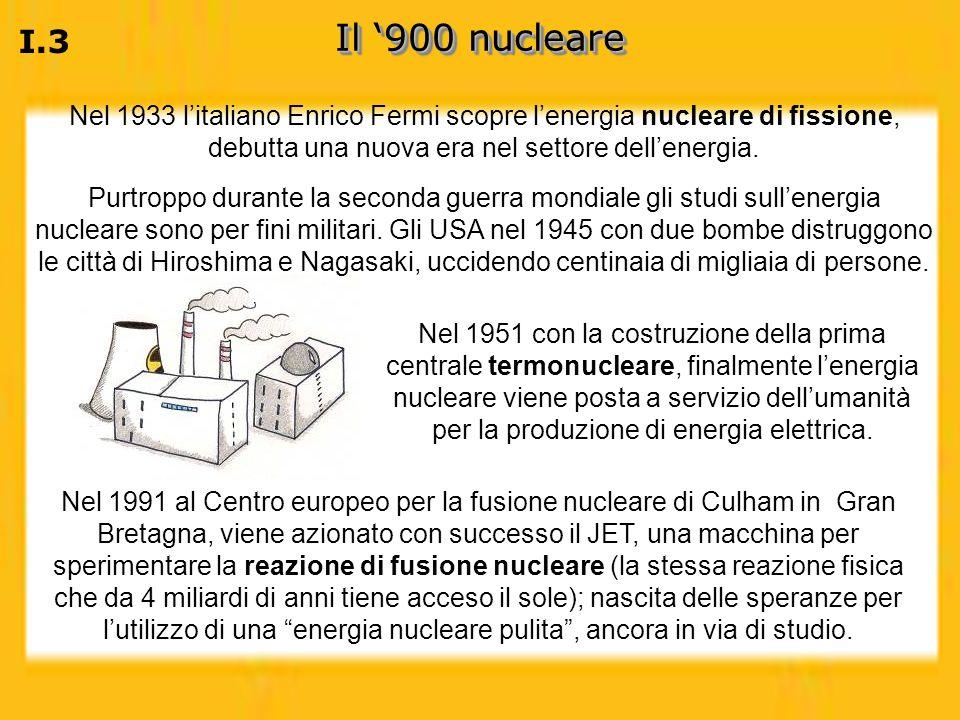 I.3 Il 900 nucleare Purtroppo durante la seconda guerra mondiale gli studi sullenergia nucleare sono per fini militari. Gli USA nel 1945 con due bombe