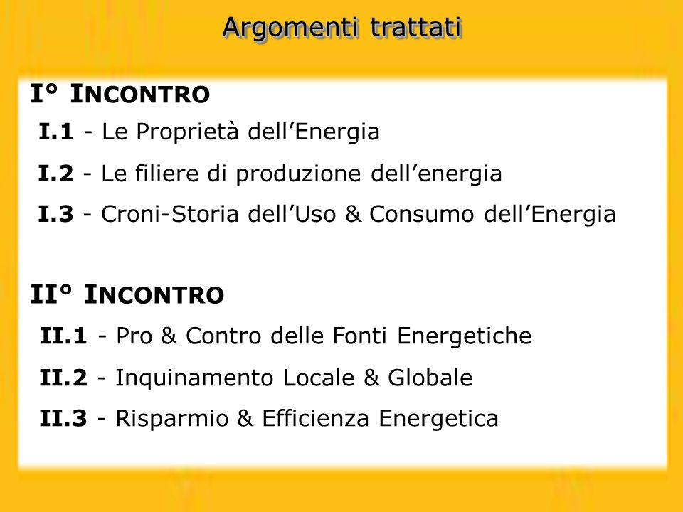 I.1 - Le Proprietà dellEnergia I.2 - Le filiere di produzione dellenergia I.3 - Croni-Storia dellUso & Consumo dellEnergia I° I NCONTRO II° I NCONTRO
