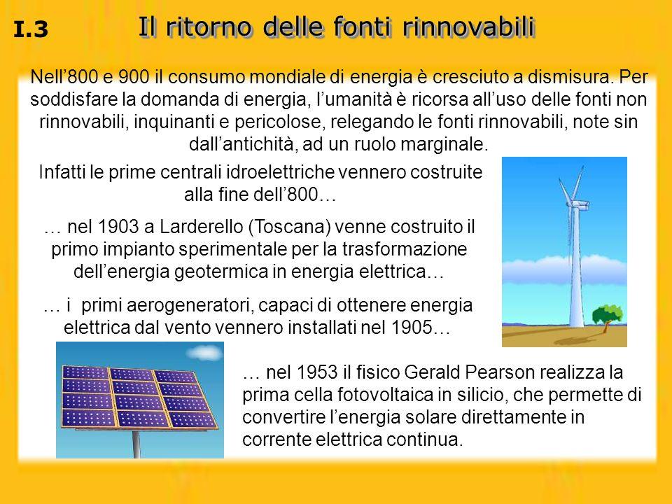 I.3 Il ritorno delle fonti rinnovabili Nell800 e 900 il consumo mondiale di energia è cresciuto a dismisura. Per soddisfare la domanda di energia, lum