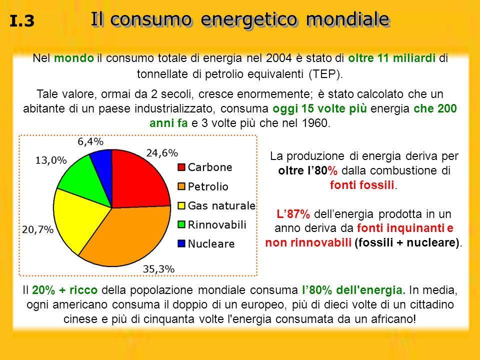 Nel mondo il consumo totale di energia nel 2004 è stato di oltre 11 miliardi di tonnellate di petrolio equivalenti (TEP). Tale valore, ormai da 2 seco