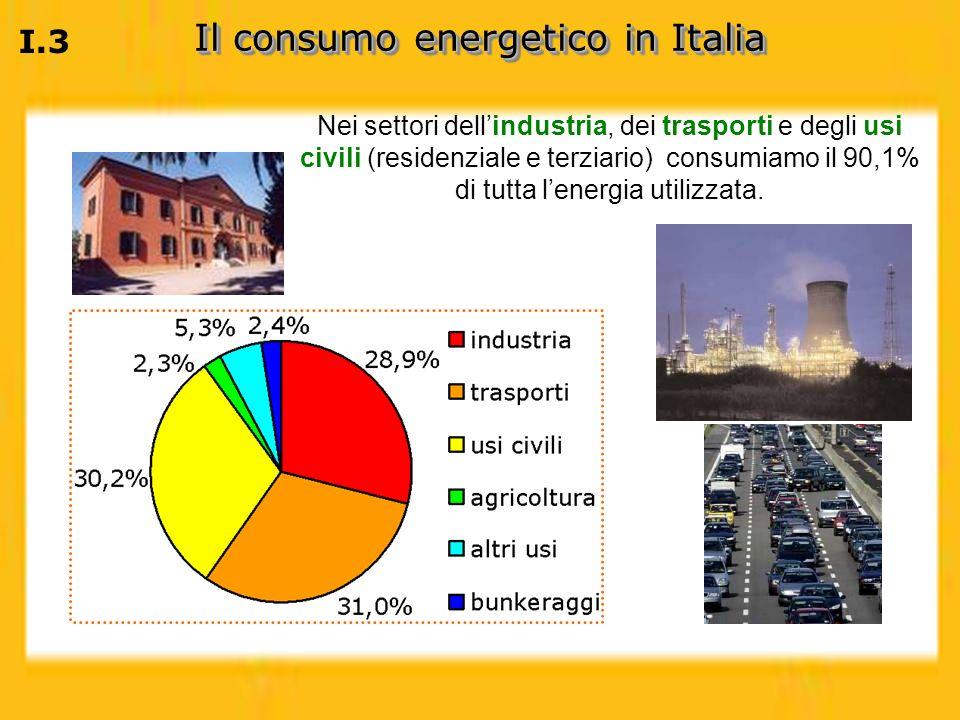 I.3 Il consumo energetico in Italia Nei settori dellindustria, dei trasporti e degli usi civili (residenziale e terziario) consumiamo il 90,1% di tutt