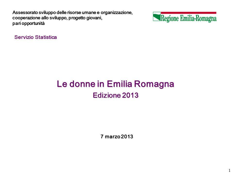 1 Le donne in Emilia Romagna Edizione 2013 7 marzo 2013 7 marzo 2013 Servizio Statistica Assessorato sviluppo delle risorse umane e organizzazione, co