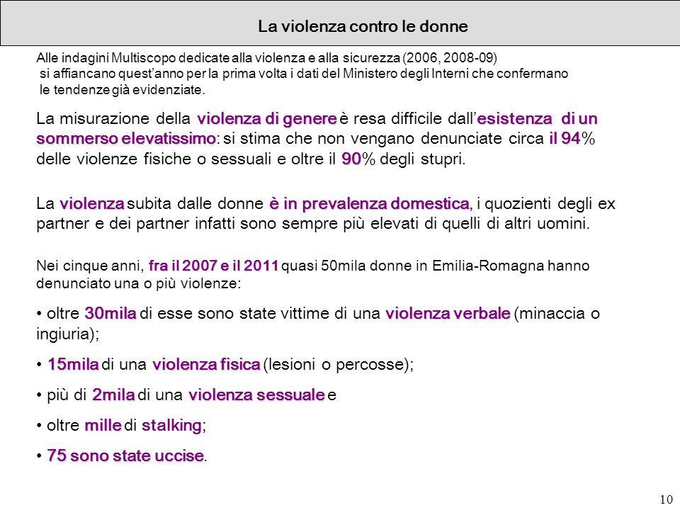 10 La violenza contro le donne Alle indagini Multiscopo dedicate alla violenza e alla sicurezza (2006, 2008-09) si affiancano questanno per la prima v
