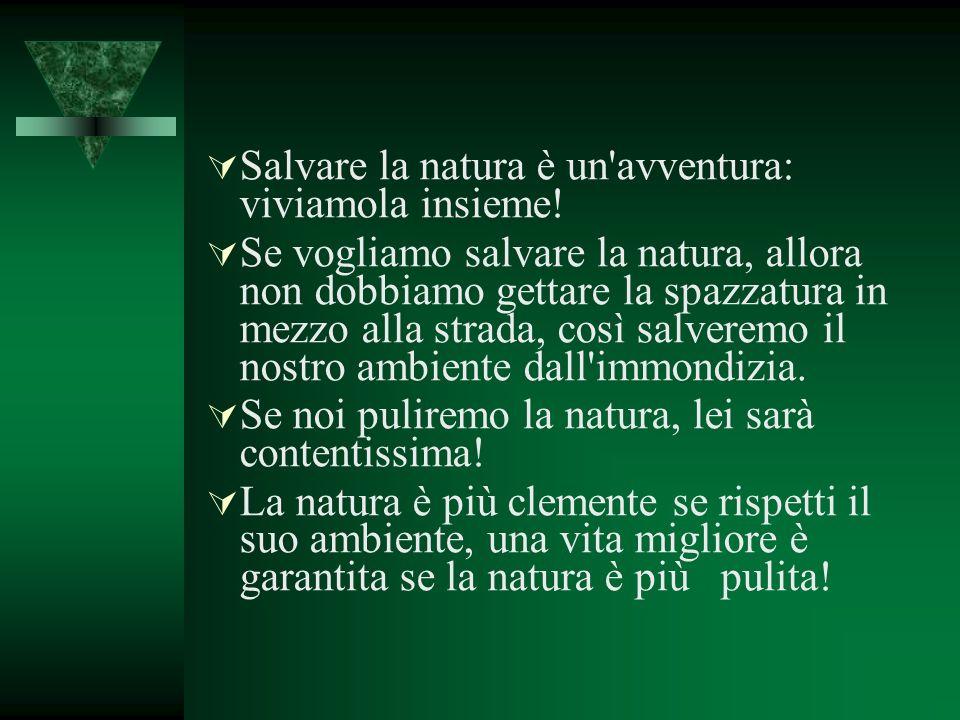 Salvare la natura è un'avventura: viviamola insieme! Se vogliamo salvare la natura, allora non dobbiamo gettare la spazzatura in mezzo alla strada, co