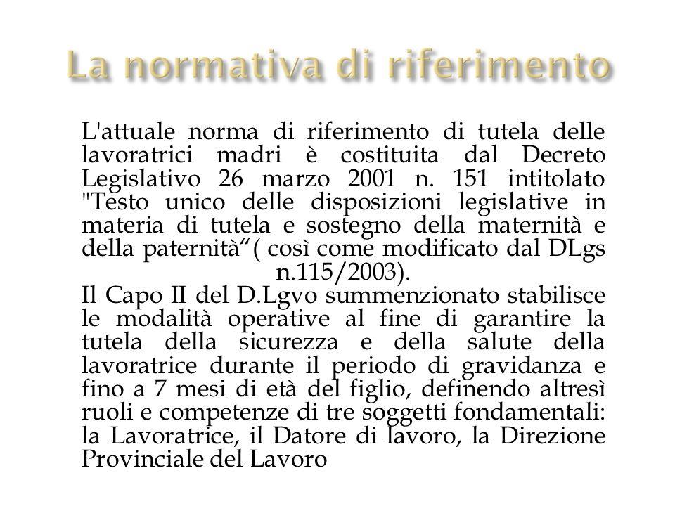 L'attuale norma di riferimento di tutela delle lavoratrici madri è costituita dal Decreto Legislativo 26 marzo 2001 n. 151 intitolato