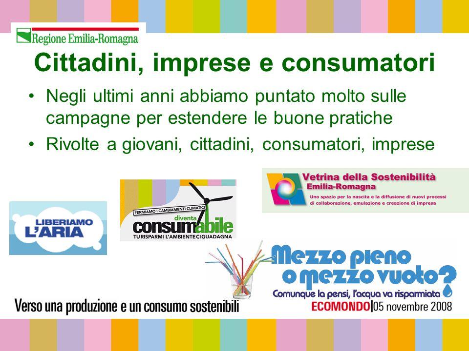 Cittadini, imprese e consumatori Negli ultimi anni abbiamo puntato molto sulle campagne per estendere le buone pratiche Rivolte a giovani, cittadini, consumatori, imprese