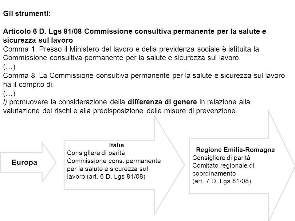 Gli strumenti: Articolo 6 D. Lgs 81/08 Commissione consultiva permanente per la salute e sicurezza sul lavoro Comma 1. Presso il Ministero del lavoro