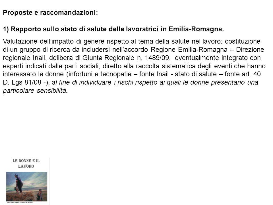 Proposte e raccomandazioni: 1) Rapporto sullo stato di salute delle lavoratrici in Emilia-Romagna. Valutazione dellimpatto di genere rispetto al tema