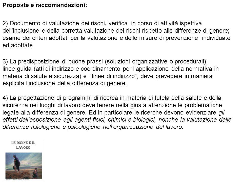 Proposte e raccomandazioni: 2) Documento di valutazione dei rischi, verifica in corso di attività ispettiva dellinclusione e della corretta valutazion