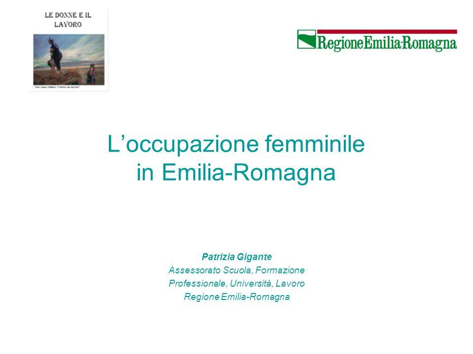 Loccupazione femminile in Emilia-Romagna Patrizia Gigante Assessorato Scuola, Formazione Professionale, Università, Lavoro Regione Emilia-Romagna
