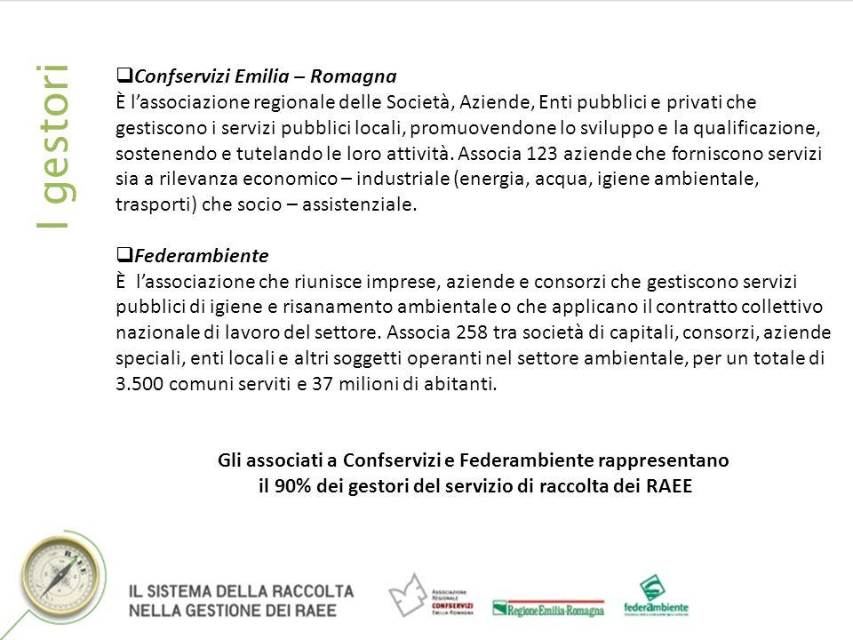 I gestori Confservizi Emilia – Romagna È lassociazione regionale delle Società, Aziende, Enti pubblici e privati che gestiscono i servizi pubblici locali, promuovendone lo sviluppo e la qualificazione, sostenendo e tutelando le loro attività.