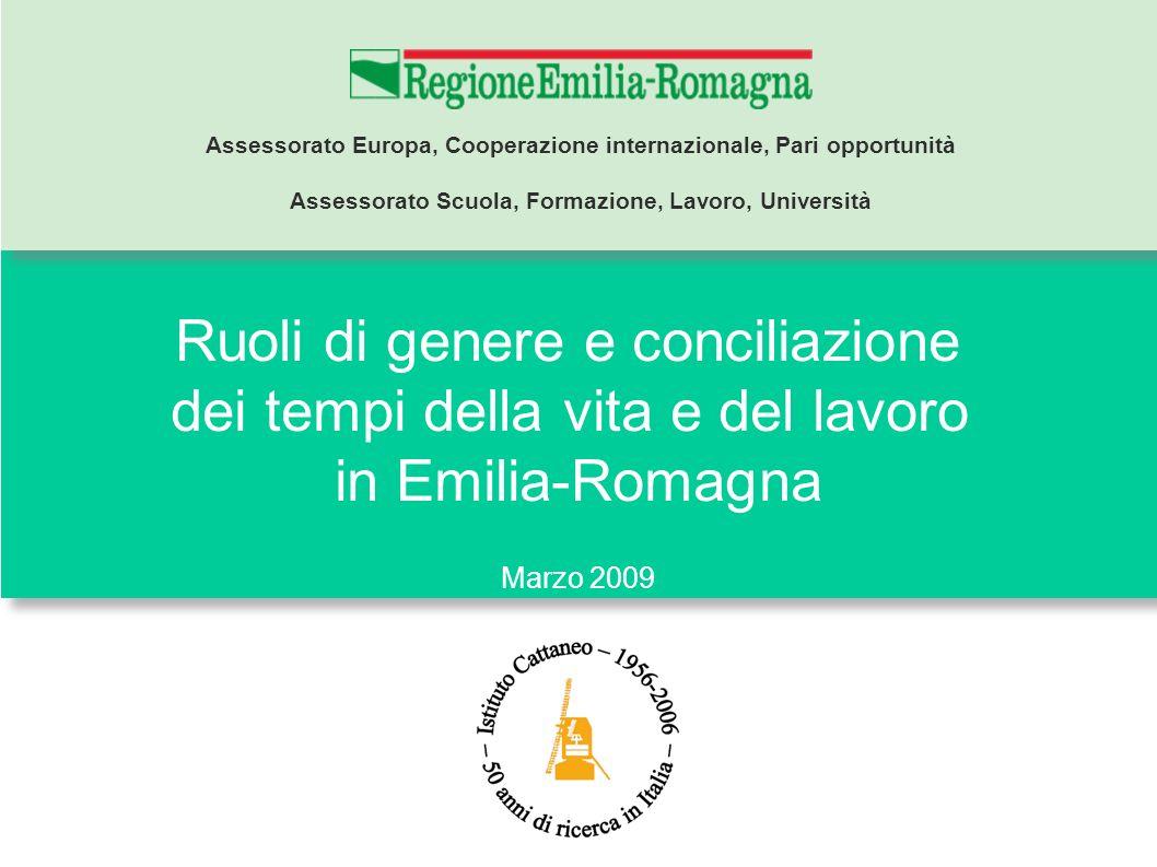 Ruoli di genere e conciliazione dei tempi della vita e del lavoro in Emilia-Romagna Marzo 2009 Assessorato Europa, Cooperazione internazionale, Pari o