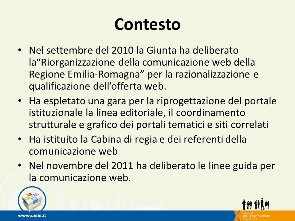Contesto Nel settembre del 2010 la Giunta ha deliberato laRiorganizzazione della comunicazione web della Regione Emilia-Romagna per la razionalizzazione e qualificazione dellofferta web.