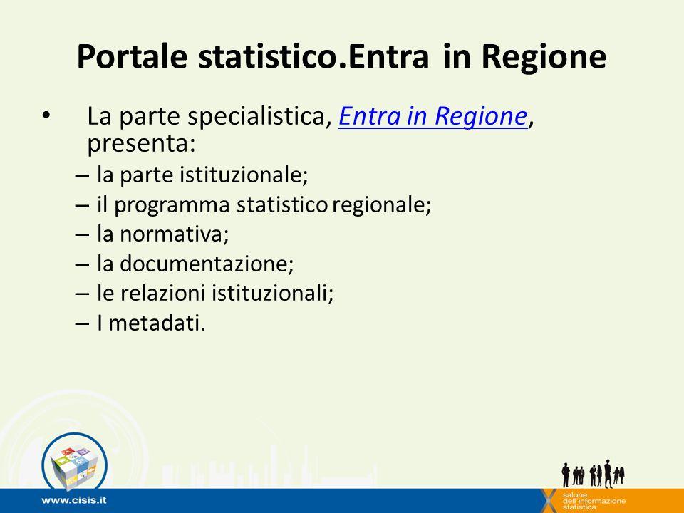 Portale statistico.Entra in Regione La parte specialistica, Entra in Regione, presenta:Entra in Regione – la parte istituzionale; – il programma statistico regionale; – la normativa; – la documentazione; – le relazioni istituzionali; – I metadati.