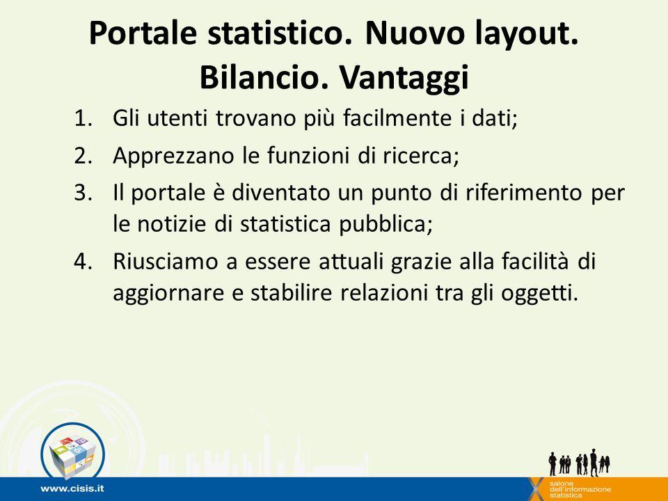 Portale statistico. Nuovo layout. Bilancio.