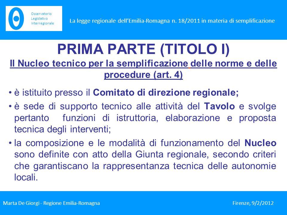 PRIMA PARTE (TITOLO I) Il Nucleo tecnico per la semplificazione delle norme e delle procedure (art.