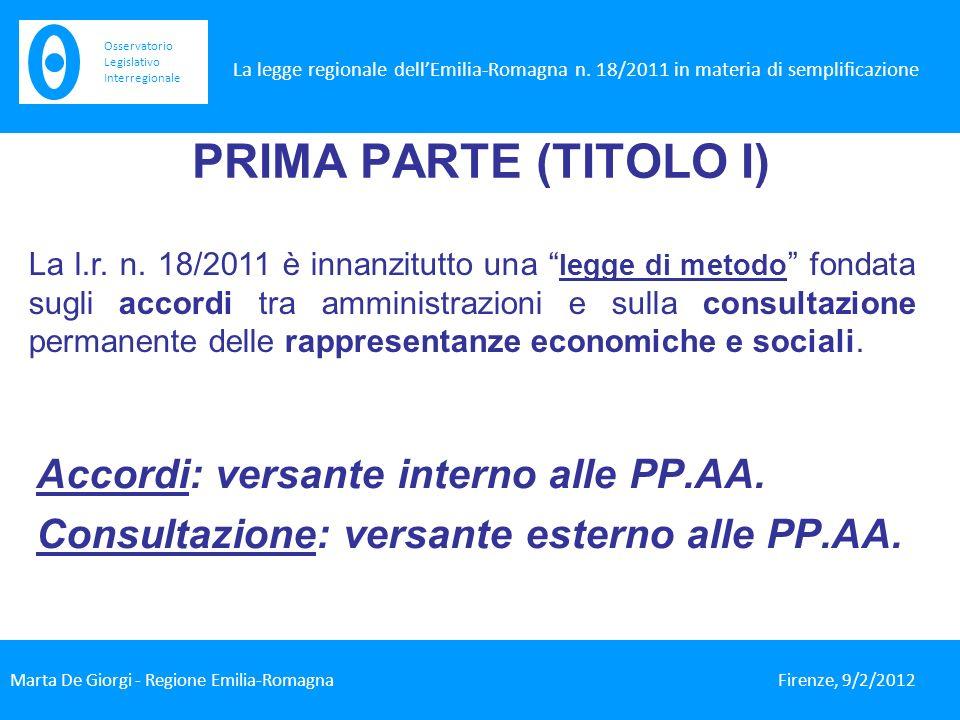 PRIMA PARTE (TITOLO I) Accordi: versante interno alle PP.AA.