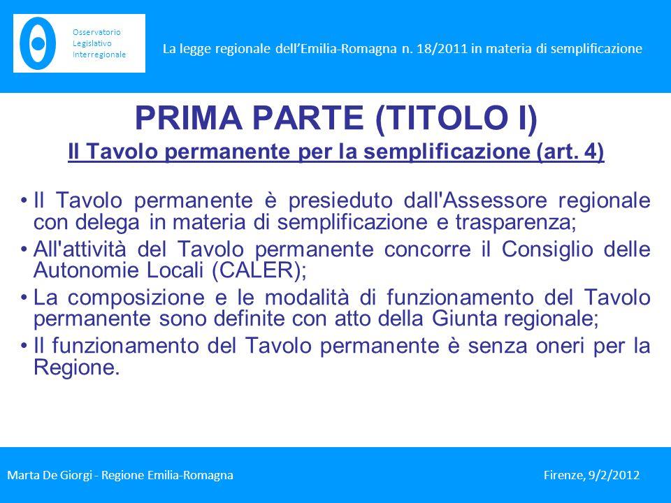 PRIMA PARTE (TITOLO I) Il Tavolo permanente per la semplificazione (art.