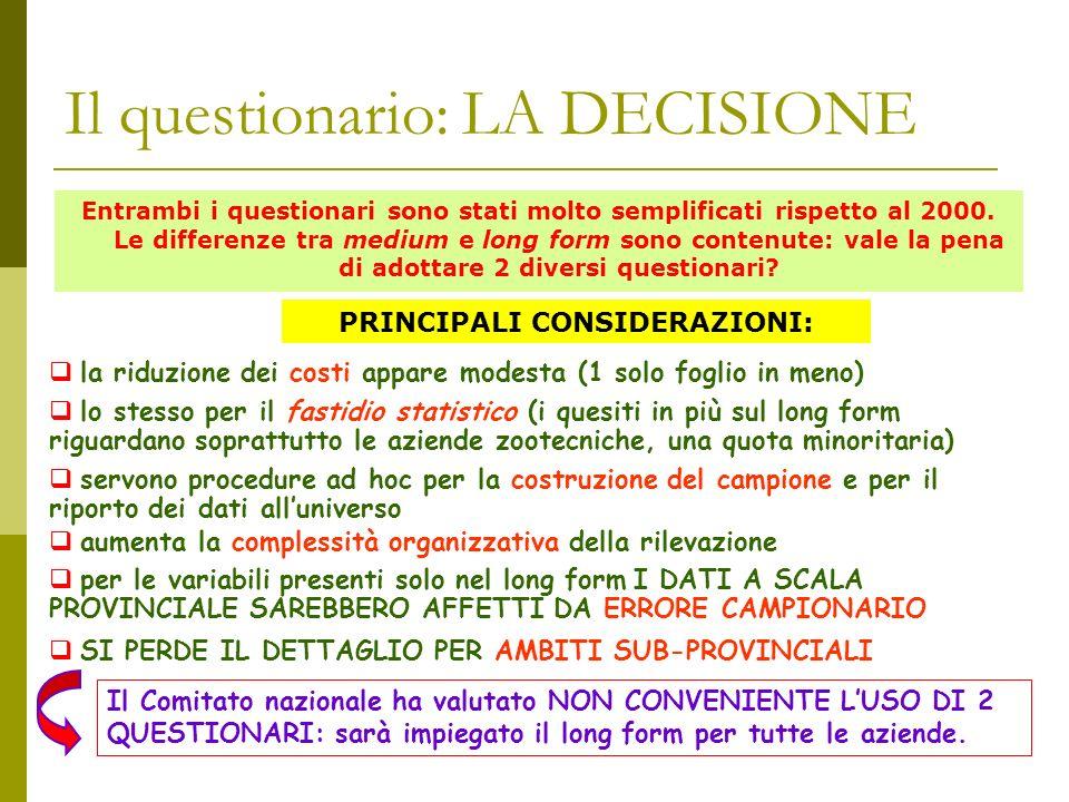 Il questionario: LA DECISIONE Entrambi i questionari sono stati molto semplificati rispetto al 2000.