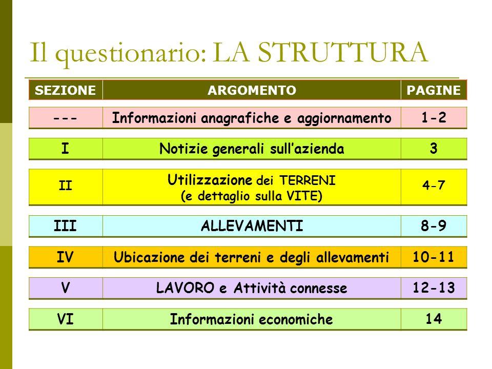 Il questionario: LA STRUTTURA SEZIONEARGOMENTOPAGINE ---Informazioni anagrafiche e aggiornamento1-2 INotizie generali sullazienda3 II Utilizzazione dei TERRENI (e dettaglio sulla VITE) 4-7 IIIALLEVAMENTI8-9 IVUbicazione dei terreni e degli allevamenti10-11 VLAVORO e Attività connesse12-13 VIInformazioni economiche14