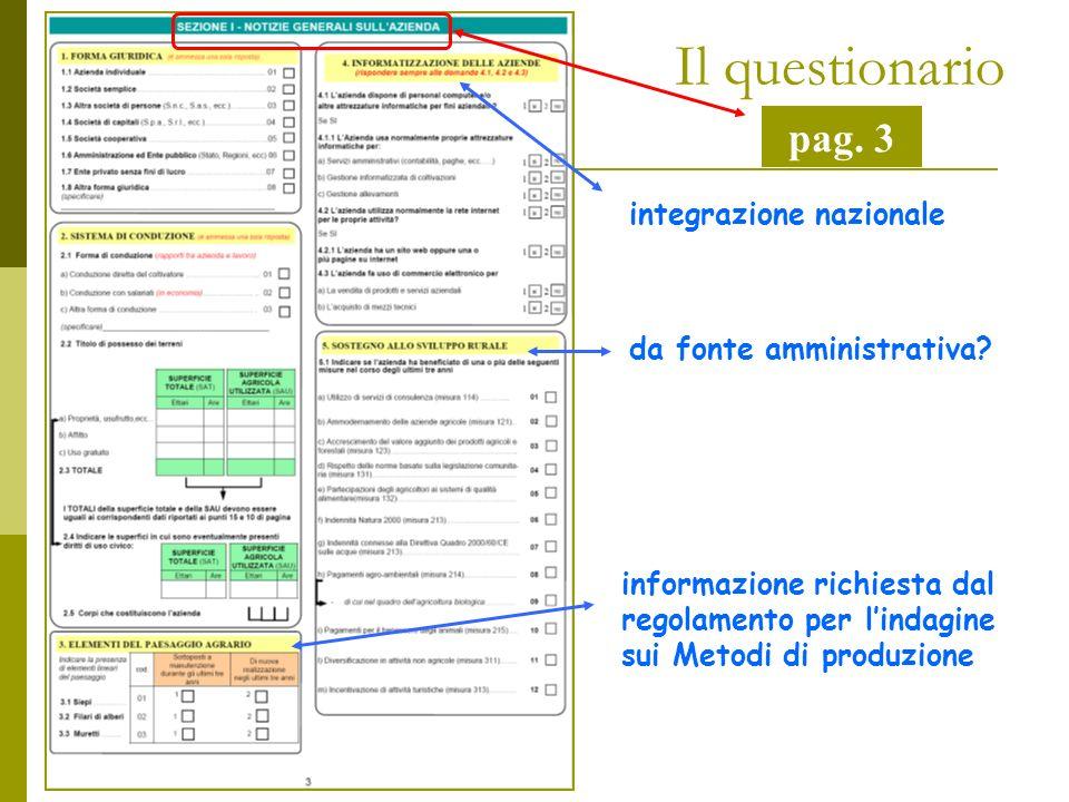 Il questionario pag. 3 integrazione nazionale da fonte amministrativa.