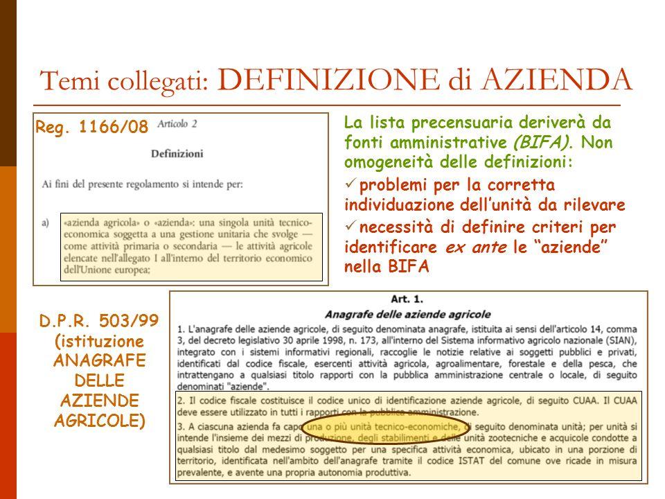 Temi collegati: DEFINIZIONE di AZIENDA Reg. 1166/08 D.P.R.