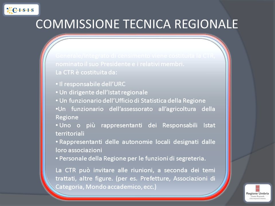 COMMISSIONE TECNICA REGIONALE Con lo stesso atto deliberativo di approvazione del Piano Generale/Integrato di censimento viene costituita la CTR, nominato il suo Presidente e i relativi membri.