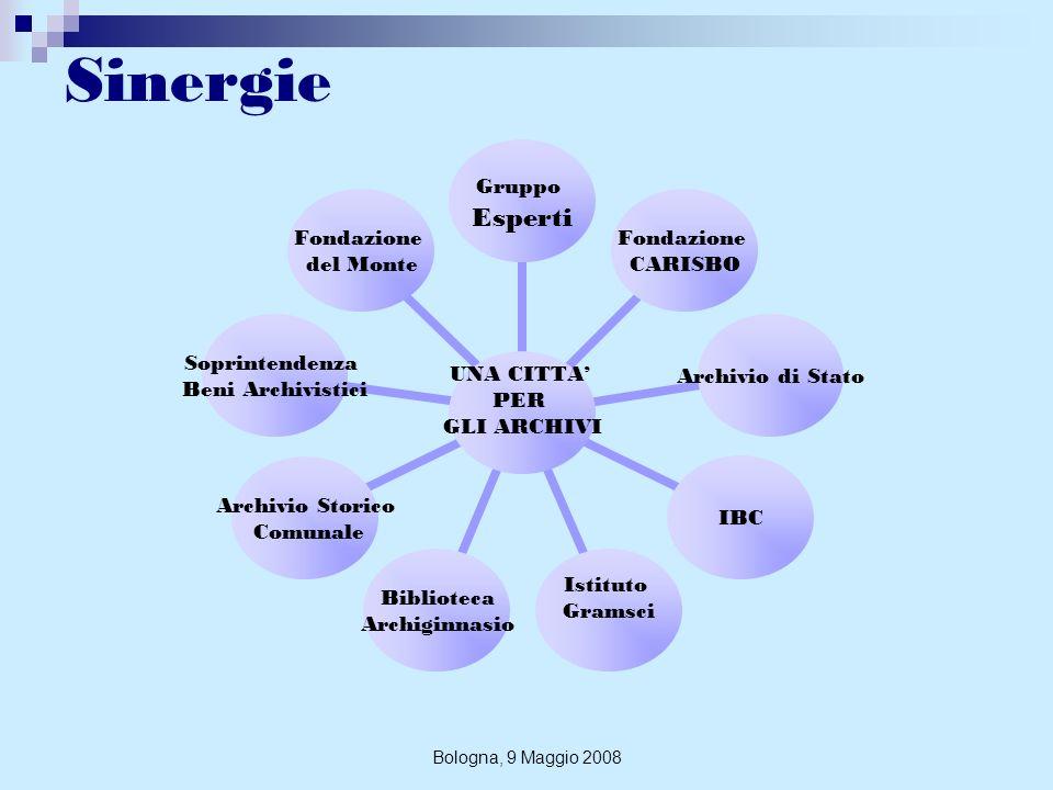 Bologna, 9 Maggio 2008 Finalità Consistono nella salvaguardia e nella valorizzazione degli archivi a rischio attraverso: individuazione dei fondi bolognesi dei sec.