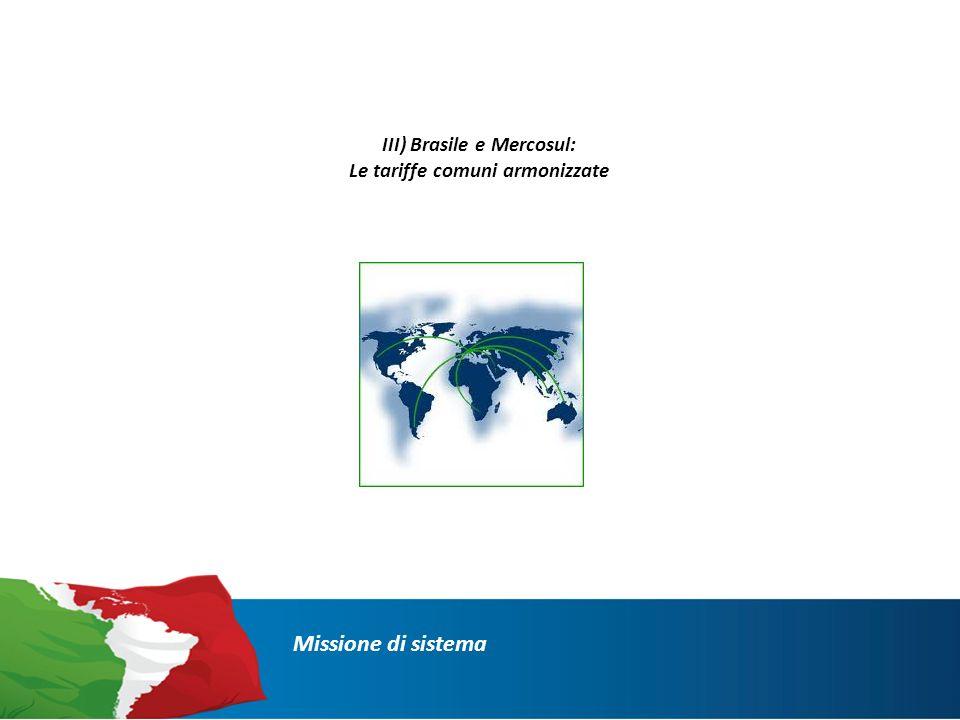 III) Brasile e Mercosul: Le tariffe comuni armonizzate Missione di sistema
