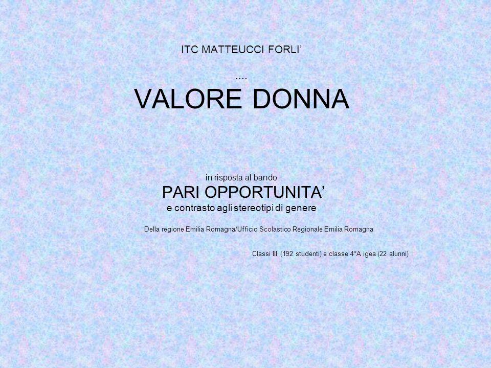 ITC MATTEUCCI FORLI.... VALORE DONNA in risposta al bando PARI OPPORTUNITA e contrasto agli stereotipi di genere Della regione Emilia Romagna/Ufficio