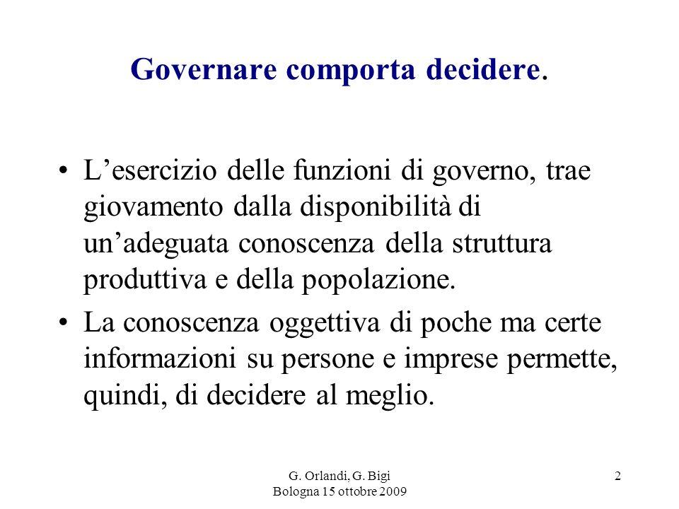 G. Orlandi, G. Bigi Bologna 15 ottobre 2009 2 Governare comporta decidere.