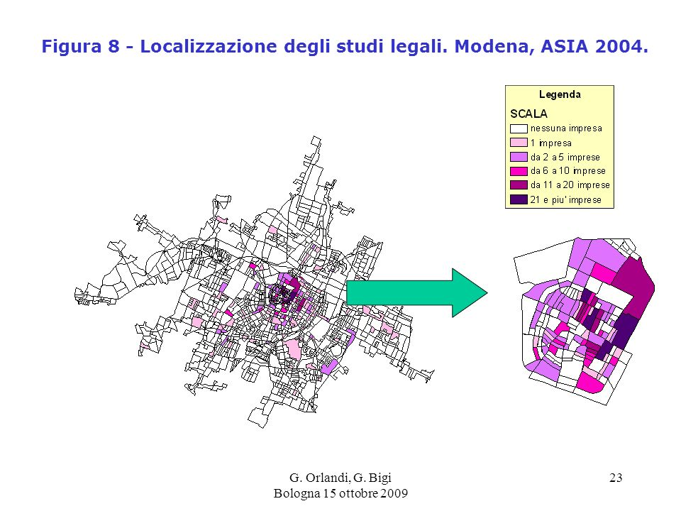 G. Orlandi, G. Bigi Bologna 15 ottobre 2009 23 Figura 8 - Localizzazione degli studi legali.